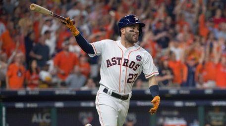 Astros second baseman Jose Altuve after hitting a