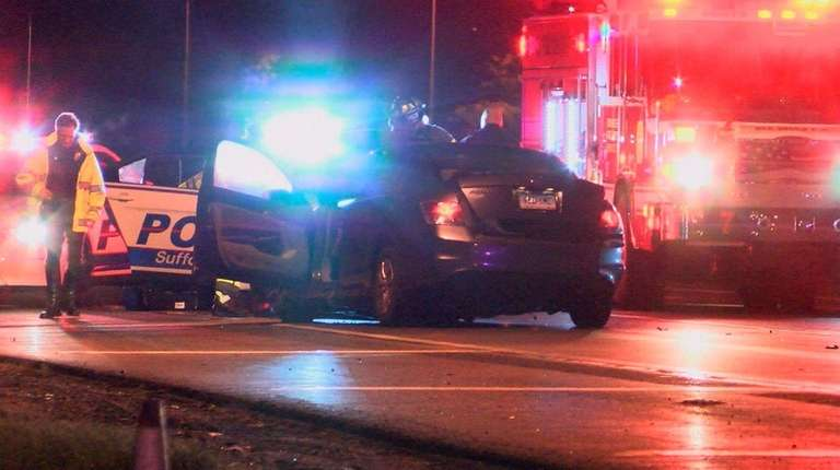 Suffolk police at the scene after a wrong-way