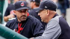 Pitching coach Mickey Callaway, left, of the Cleveland