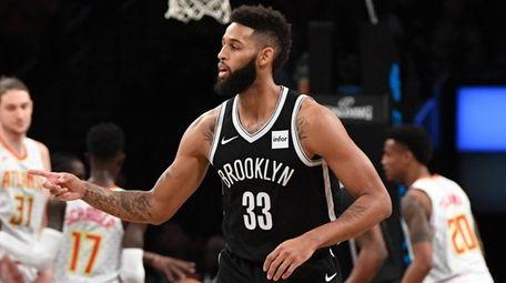 Nets guard Allen Crabbe reacts after a basket