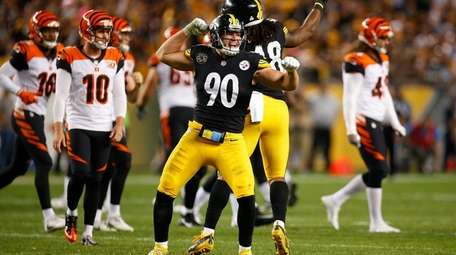 T.J. Watt of the Pittsburgh Steelers reacts after