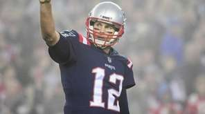 Tom Brady of the Patriots reacts against the