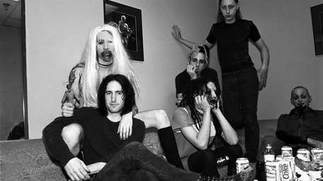 Trent Reznor, in foreground and the band Marilyn