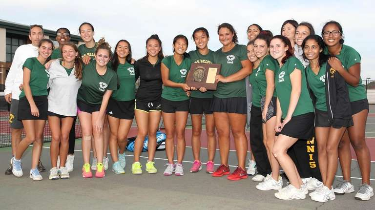 Ward Melville poses with its trophy during the
