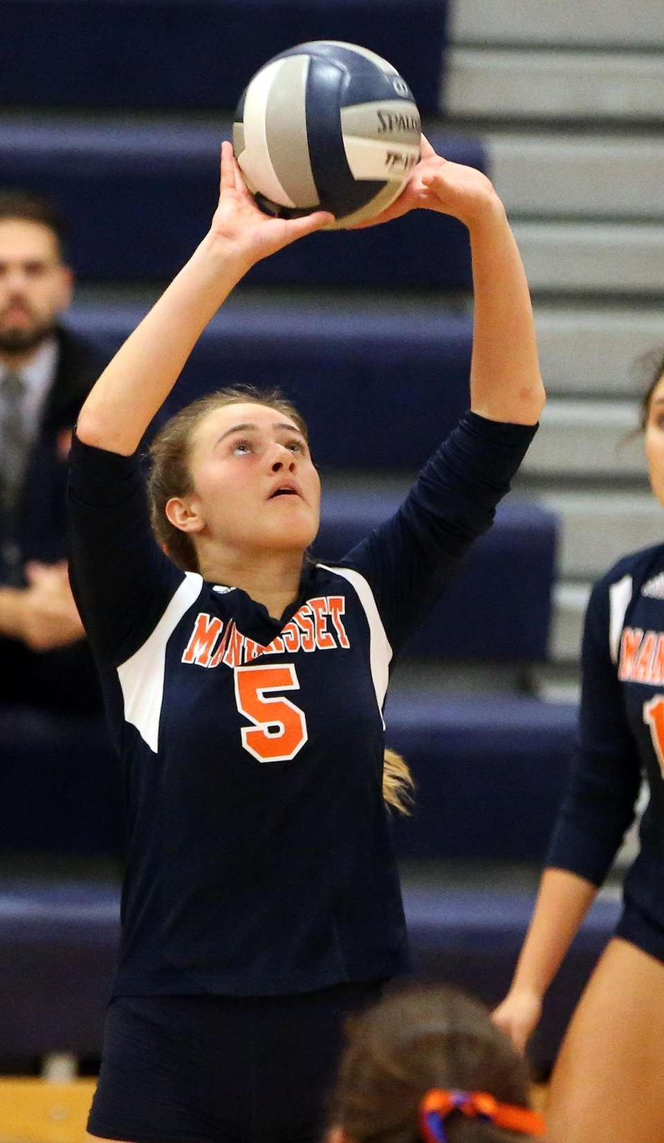 Manhasset's Isabella Pirone sets the ball during a