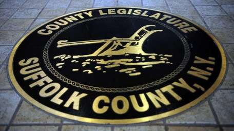 The Suffolk County Legislature seal in the lobby