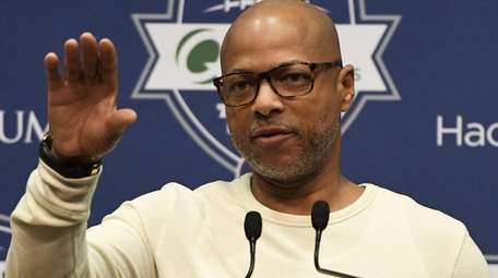 Giants general manager Jerry Reese answers questions from