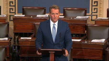 Sen. Jeff Flake (R-Ariz.) speaks on the Senate