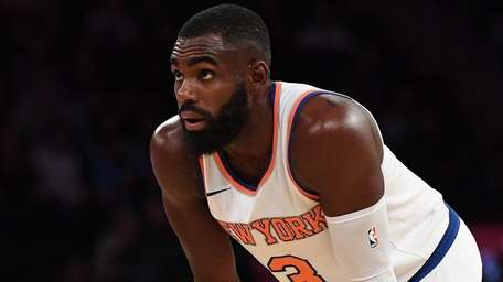 Knicks guard Tim Hardaway Jr. looks on against