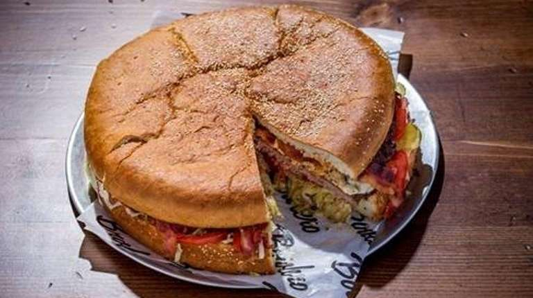 The Behemoth, a five-pound burger available at Bowlero