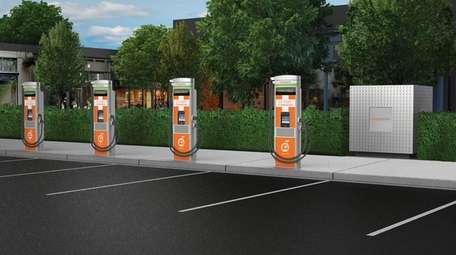A rendering of fast charging hubs, which will