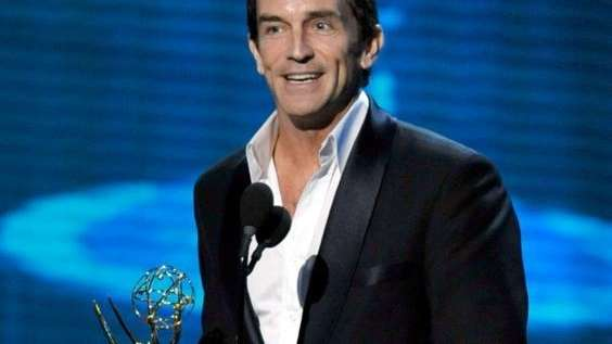 Television show host Jeff Probst accepts the Outstanding