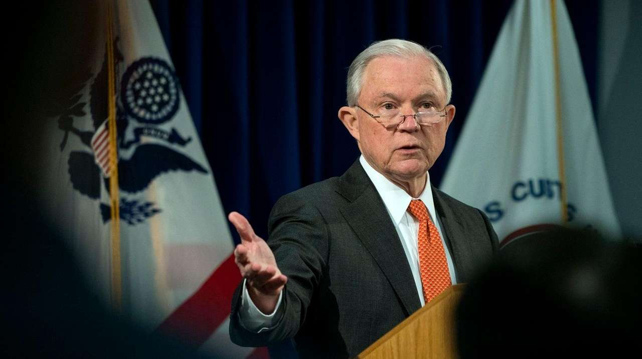 Attorney General Jeff Sessions speaks at Kennedy Airport