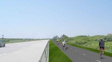 An artist's rendering of the Ocean Parkway bike