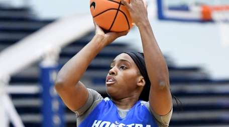 Ashunae Durant of Hofstra's women's basketball team shoots