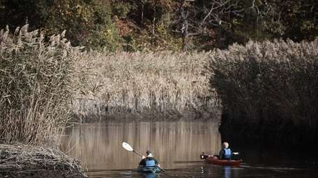 People paddle on the Nissequogue River in Smithtown,
