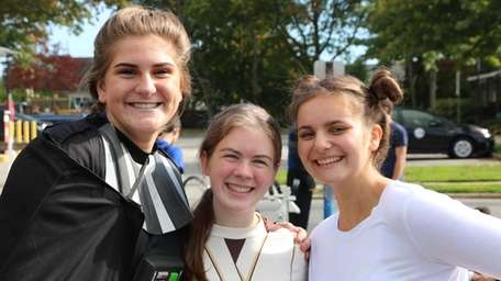 Massapequa High School students Sarah Lewis, left, Renee