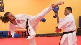Joe Musumeci, 17, of Central Islip, practices ShotoKan