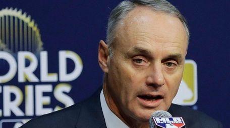 MLB commissioner Rob Manfred announces Saturday, Oct. 28,