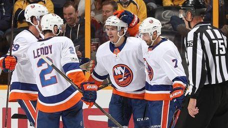 Islanders' Jordan Eberle celebrates his goal during a