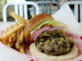 A veggie burger is served at Bay Burger