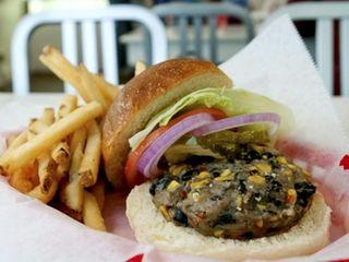 A veggie burger is served at Bay Burger