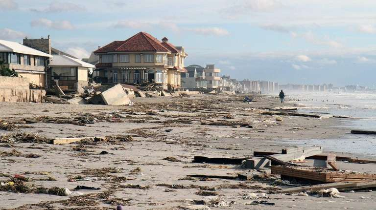Beaches in the Rockaways were cluttered with debris,