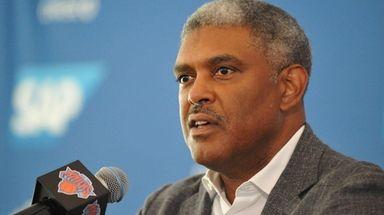Steve Mills, New York Knicks president, speaks during