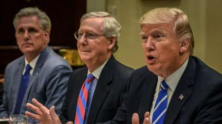 President Donald Trump meets with Republican leadership, including