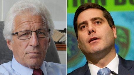 Republican Suffolk district attorney candidate Ray Perini, left,
