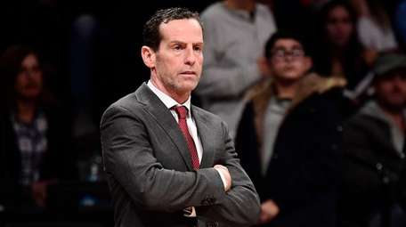 Kenny Atkinson of the Nets reacts against the