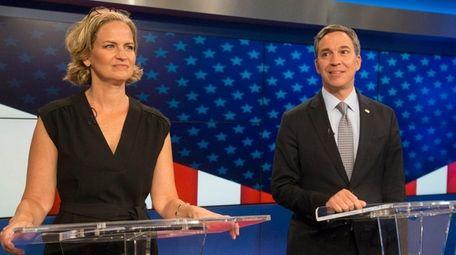 Laura Curran and Jack Martins, during a debate