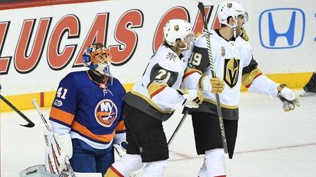 Islanders goalie Jaroslav Halak looks on asGolden Knights