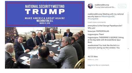 George Papadopoulos, third from left, meets with then-presidential