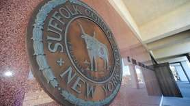 Suffolk County seal on the outside of the