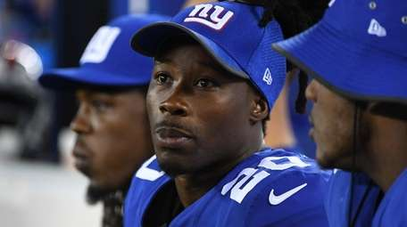 Giants cornerback Janoris Jenkins looks on from the
