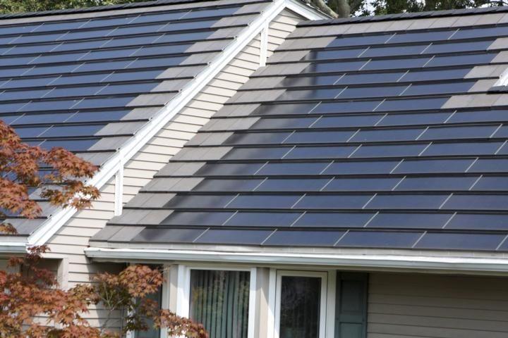 A closer look at the solar tiles atop