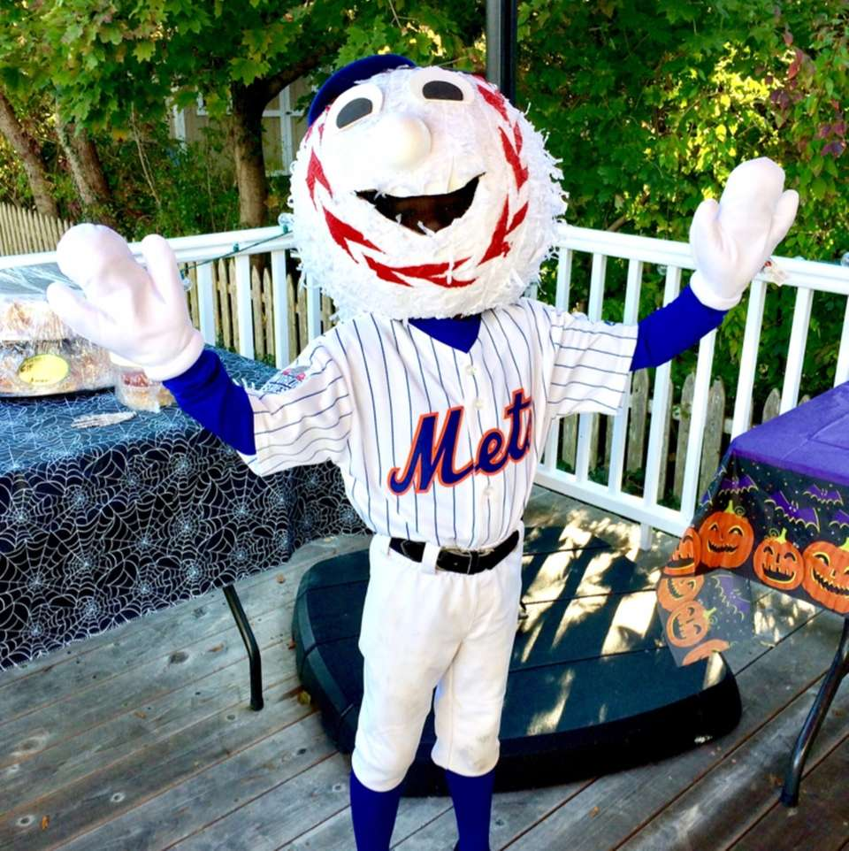 Mr. Met in Babylon Village.
