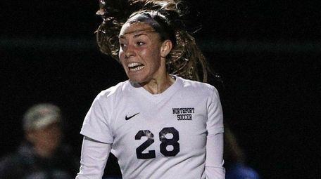 Emily Zeblisky of Northport celebrates a goal duringthe