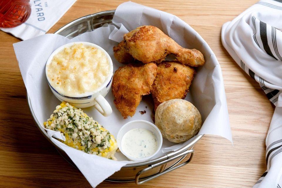 The bucket of crisp and juicy fried chicken
