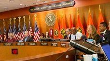 The Nassau County Legislature listens to public comment