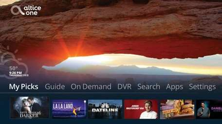 This is the 'home' screen interface for Altice's