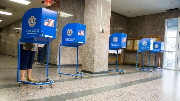 A voter casting a ballot.