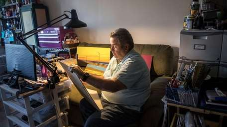 Phil Jacobs, 71 at his home studio in