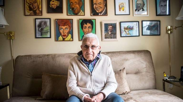 Sandy Bier, 92, at his home studio in