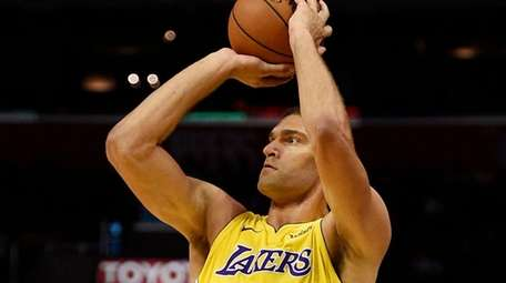Lakers center Brook Lopez, a former Net, shown