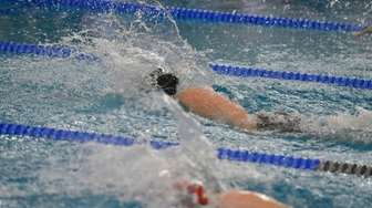 Southampton's Margaret Purcell wins the 50-yard freestyle in