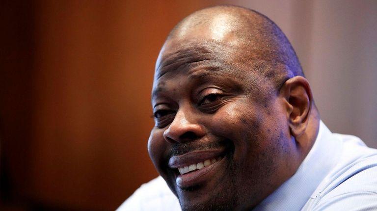 Georgetown men's basketball coach Patrick Ewing speaks to