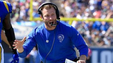 Los Angeles Rams head coach Sean McVay celebrates