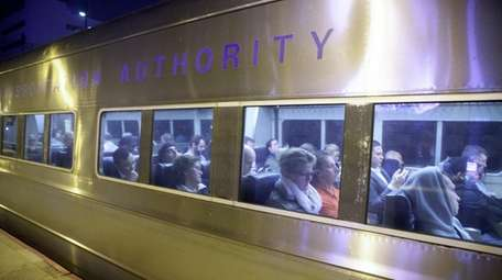 Commuters at the LIRR station on Friday, Nov.